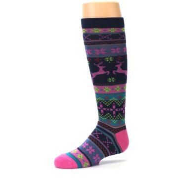 Image of Navy Pink Nordic Kid's Knee High Socks (side-2-10)