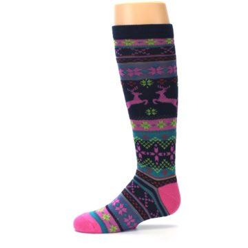 Image of Navy Pink Nordic Kid's Knee High Socks (side-2-11)