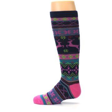 Image of Navy Pink Nordic Kid's Knee High Socks (side-2-12)