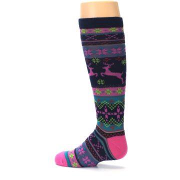 Image of Navy Pink Nordic Kid's Knee High Socks (side-2-13)