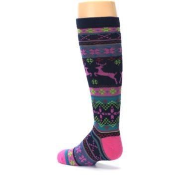 Image of Navy Pink Nordic Kid's Knee High Socks (side-2-back-14)
