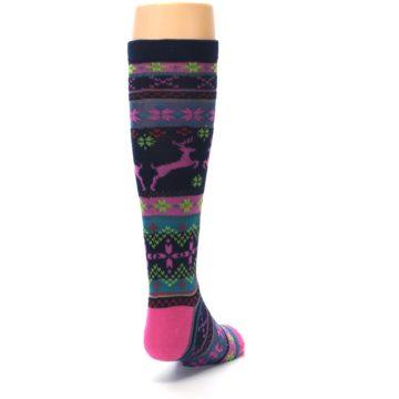 Image of Navy Pink Nordic Kid's Knee High Socks (side-1-back-20)