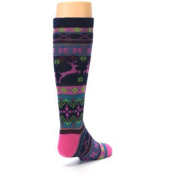 Image of Navy Pink Nordic Kid's Knee High Socks (side-1-back-21)