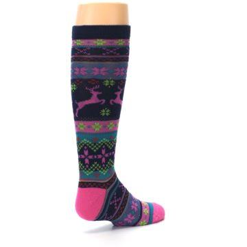 Image of Navy Pink Nordic Kid's Knee High Socks (side-1-back-22)