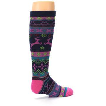 Image of Navy Pink Nordic Kid's Knee High Socks (side-1-23)