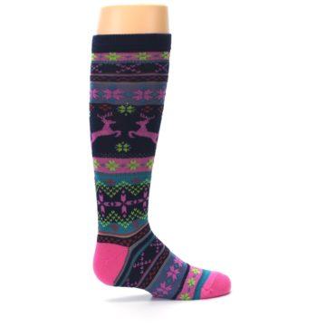 Image of Navy Pink Nordic Kid's Knee High Socks (side-1-24)