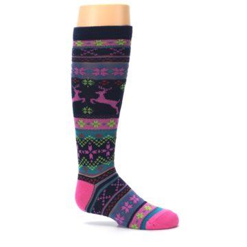 Image of Navy Pink Nordic Kid's Knee High Socks (side-1-25)