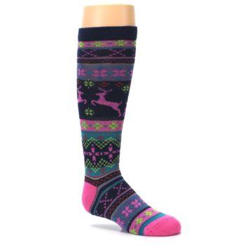 Image of Navy Pink Nordic Kid's Knee High Socks (side-1-26)