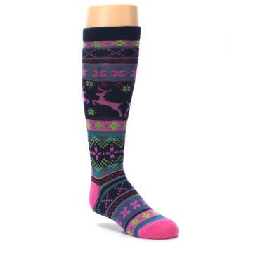 Image of Navy Pink Nordic Kid's Knee High Socks (side-1-27)