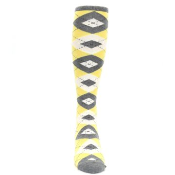 Image of Sunbeam Yellow Gray Argyle Men's Over-the-Calf Dress Socks (front-04)