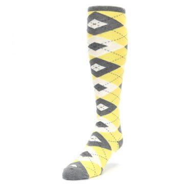 Image of Sunbeam Yellow Gray Argyle Men's Over-the-Calf Dress Socks (side-2-front-07)