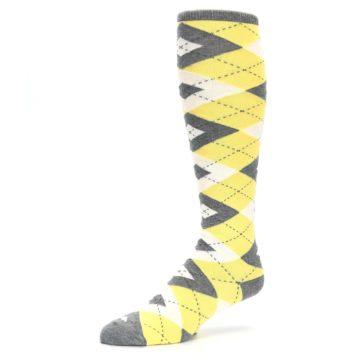 Image of Sunbeam Yellow Gray Argyle Men's Over-the-Calf Dress Socks (side-2-09)