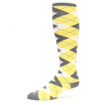 Image of Sunbeam Yellow Gray Argyle Men's Over-the-Calf Dress Socks (side-2-10)