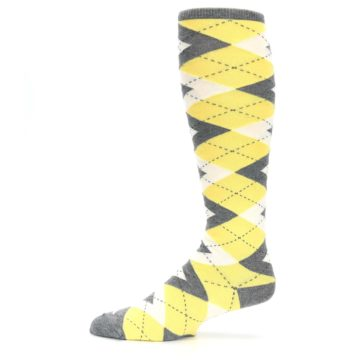 Image of Sunbeam Yellow Gray Argyle Men's Over-the-Calf Dress Socks (side-2-11)
