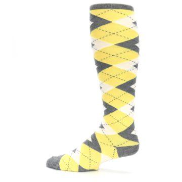 Image of Sunbeam Yellow Gray Argyle Men's Over-the-Calf Dress Socks (side-2-12)