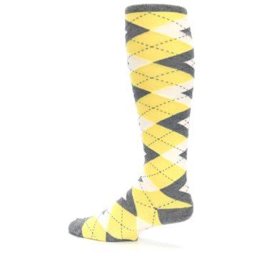 Image of Sunbeam Yellow Gray Argyle Men's Over-the-Calf Dress Socks (side-2-13)