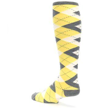 Image of Sunbeam Yellow Gray Argyle Men's Over-the-Calf Dress Socks (side-2-back-14)