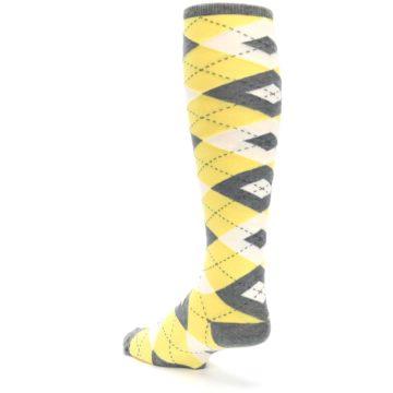 Image of Sunbeam Yellow Gray Argyle Men's Over-the-Calf Dress Socks (side-2-back-15)