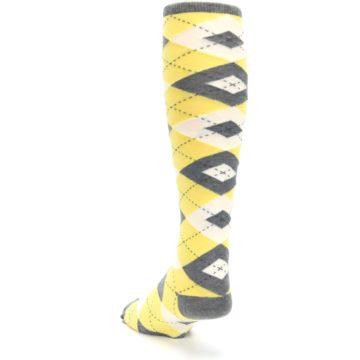 Image of Sunbeam Yellow Gray Argyle Men's Over-the-Calf Dress Socks (side-2-back-16)
