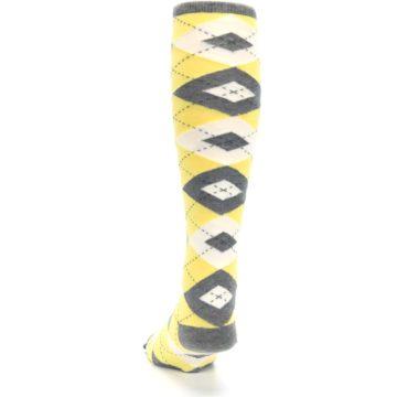 Image of Sunbeam Yellow Gray Argyle Men's Over-the-Calf Dress Socks (back-17)