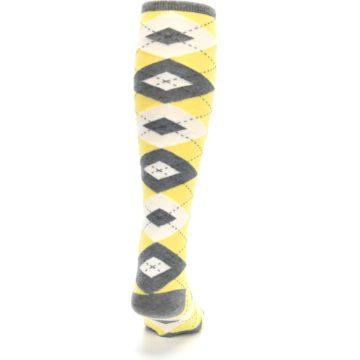 Image of Sunbeam Yellow Gray Argyle Men's Over-the-Calf Dress Socks (back-19)
