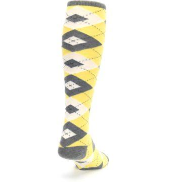 Image of Sunbeam Yellow Gray Argyle Men's Over-the-Calf Dress Socks (side-1-back-20)