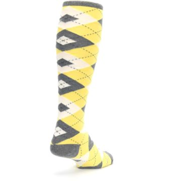 Image of Sunbeam Yellow Gray Argyle Men's Over-the-Calf Dress Socks (side-1-back-21)