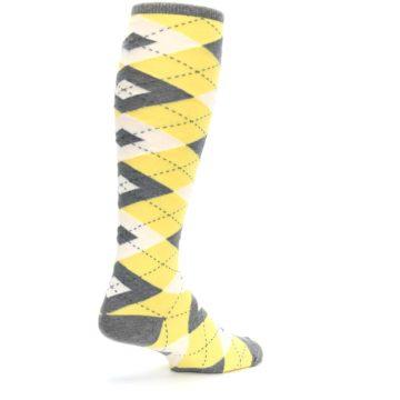 Image of Sunbeam Yellow Gray Argyle Men's Over-the-Calf Dress Socks (side-1-back-22)
