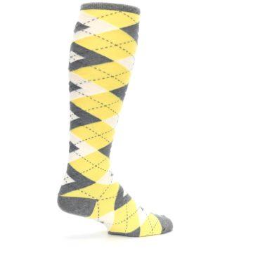 Image of Sunbeam Yellow Gray Argyle Men's Over-the-Calf Dress Socks (side-1-23)