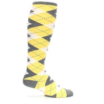 Image of Sunbeam Yellow Gray Argyle Men's Over-the-Calf Dress Socks (side-1-24)