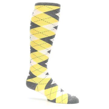 Image of Sunbeam Yellow Gray Argyle Men's Over-the-Calf Dress Socks (side-1-25)