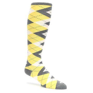 Image of Sunbeam Yellow Gray Argyle Men's Over-the-Calf Dress Socks (side-1-26)