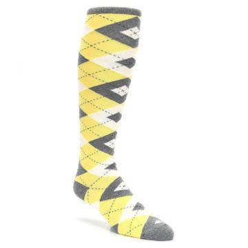 Image of Sunbeam Yellow Gray Argyle Men's Over-the-Calf Dress Socks (side-1-27)