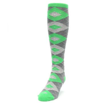 Image of Kelly Green Gray Argyle Men's Over-the-Calf Dress Socks (side-2-front-06)