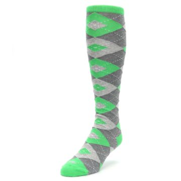 Image of Kelly Green Gray Argyle Men's Over-the-Calf Dress Socks (side-2-front-07)