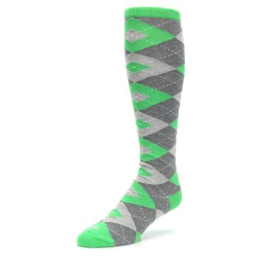 Image of Kelly Green Gray Argyle Men's Over-the-Calf Dress Socks (side-2-front-08)