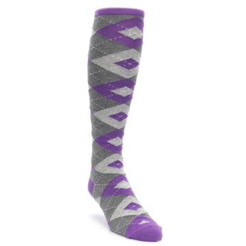 Wisteria-Purple-Gray-Argyle-Mens-Over-the-Calf-Dress-Socks-Statement-Sockwear