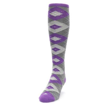 Image of Wisteria Purple Gray Argyle Men's Over-the-Calf Dress Socks (side-2-front-06)