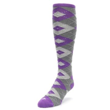 Image of Wisteria Purple Gray Argyle Men's Over-the-Calf Dress Socks (side-2-front-07)