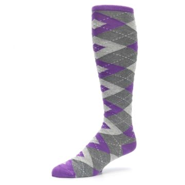 Image of Wisteria Purple Gray Argyle Men's Over-the-Calf Dress Socks (side-2-09)