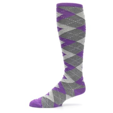 Image of Wisteria Purple Gray Argyle Men's Over-the-Calf Dress Socks (side-2-10)