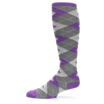 Image of Wisteria Purple Gray Argyle Men's Over-the-Calf Dress Socks (side-2-11)