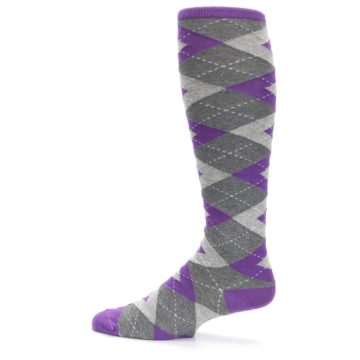 Image of Wisteria Purple Gray Argyle Men's Over-the-Calf Dress Socks (side-2-12)