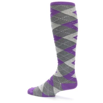 Image of Wisteria Purple Gray Argyle Men's Over-the-Calf Dress Socks (side-2-13)