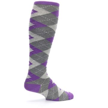 Image of Wisteria Purple Gray Argyle Men's Over-the-Calf Dress Socks (side-1-23)