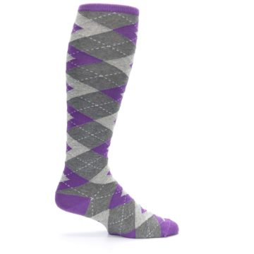 Image of Wisteria Purple Gray Argyle Men's Over-the-Calf Dress Socks (side-1-24)