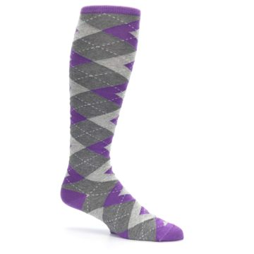 Image of Wisteria Purple Gray Argyle Men's Over-the-Calf Dress Socks (side-1-25)