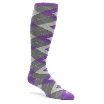 Image of Wisteria Purple Gray Argyle Men's Over-the-Calf Dress Socks (side-1-26)