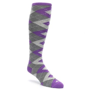 Image of Wisteria Purple Gray Argyle Men's Over-the-Calf Dress Socks (side-1-27)