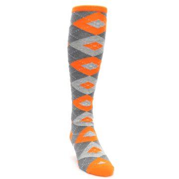 Image of Tangerine Orange Gray Argyle Men's Over-the-Calf Dress Socks (side-1-front-03)